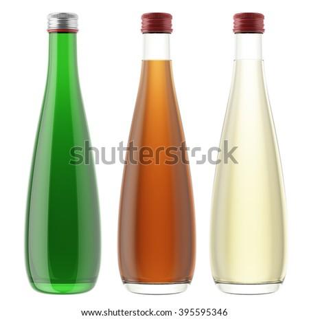 Set of plastic or glass bottles isolated on white background. 3D Mock up for your design. Beer, shampoo, conditioner, shower gel, cosmetics, beverage, lemonade, soda, juice, liquor, syrup, wine. - stock photo