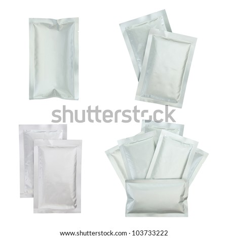 Set of plastic package isolated on white with clipping path