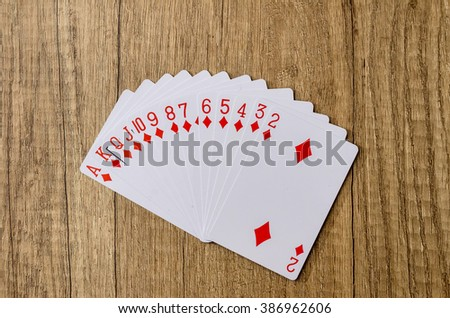 Set of playing cards poker casino - stock photo