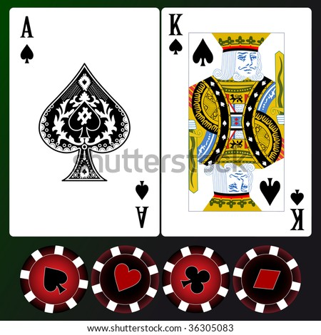 Set of playing cards. Rasterized versions. - stock photo