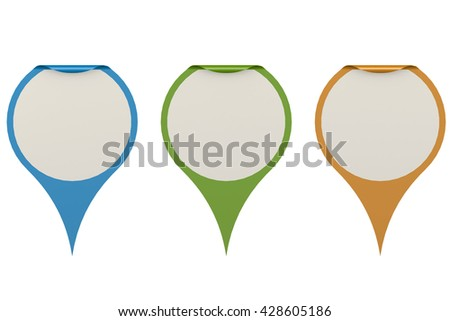 Set of pointers on isolated white background image, 3D rendering - stock photo