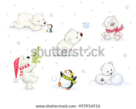 Set of polar bears