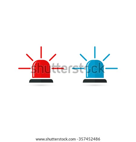Set of police or ambulance red and blue flasher siren icon. Flat style with line scatter rays on white background. - stock photo