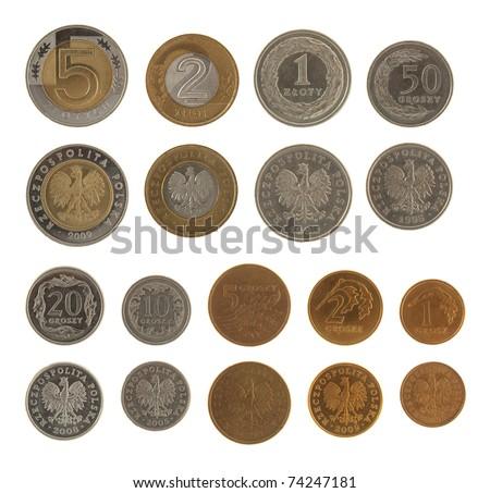 Set of Polish Zloty coins isolated on white - stock photo