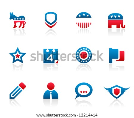 Set of 12 political election campaign icons and graphics - stock photo