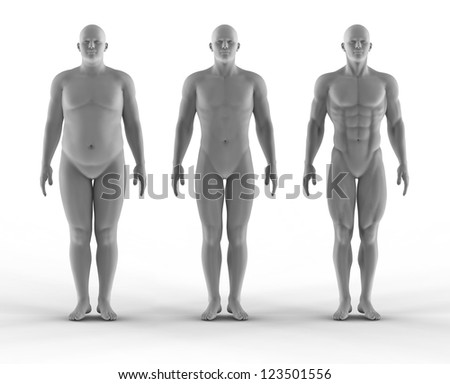 Set of portrait bodybuilder - stock photo