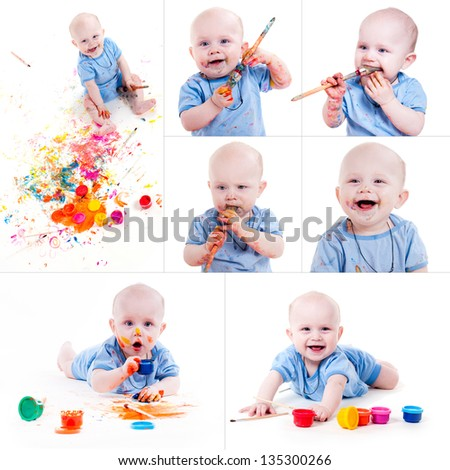 set of portrait of a cheerful grimy kid. playing with paint. on a white studio background. - stock photo