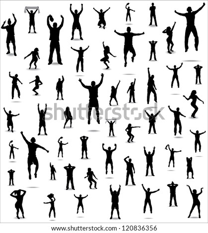 Set of poses from fans for sports championships and music concerts. Boys and girls - stock photo
