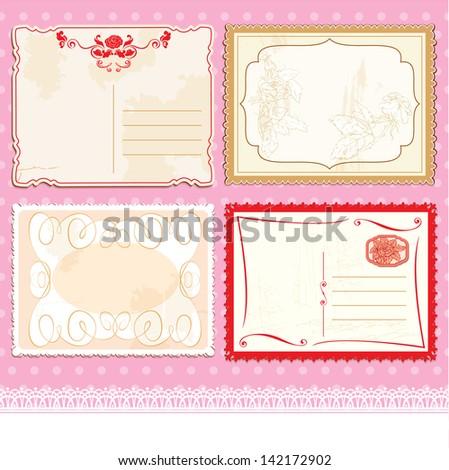 Set of Postcards in vintage design on polka dots pink background. Raster version - stock photo