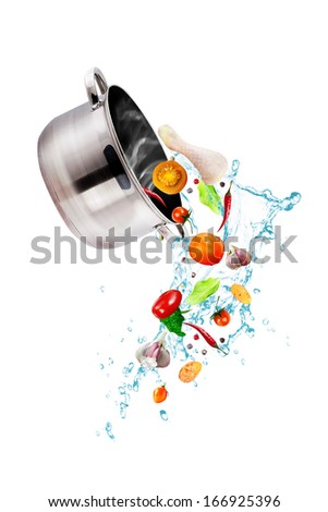 set of pots and pans - cooking vegetables with a pan  - stock photo