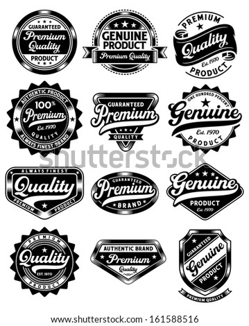 Set of Premium Quality and Genuine Vintage Labels - stock photo