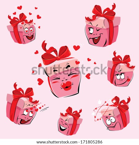 Set of pretty pink gift boxes cartoons with different expressions and  emotions. Design for love card and Valentines Day. Raster version - stock photo