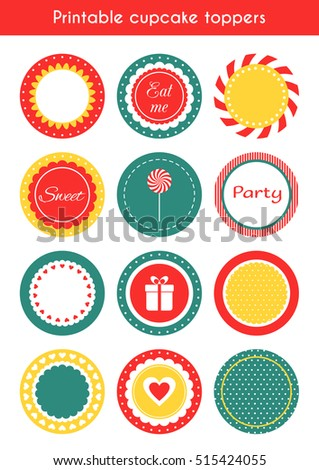 Set printable decoration tags circle cupcake stock illustration set of printable decoration tags circle cupcake toppers labels template for party raster pronofoot35fo Image collections