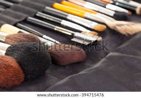 Set of professional cosmetic brushes for make-up background. - stock photo
