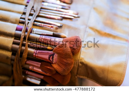 Set of professional make up brushes and cosmetic