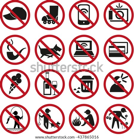 Set of prohibited signs and icons