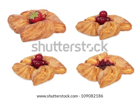 Set of puff pastry. Isolated on white. All in focus - stock photo