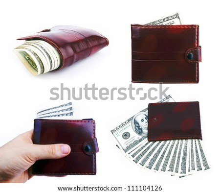 Set of purses with the big pack of dollars - stock photo
