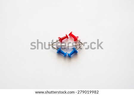 Set of push pins in different colors. Thumbtacks.On isolated background - stock photo