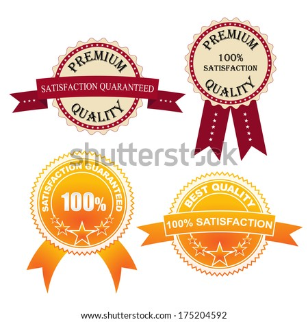 Set of quality  labels with retro vintage design (Vector version is also available in my portfolio, ID 102890600) - stock photo