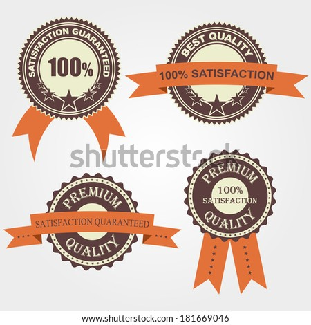 Set of quality  labels with retro vintage design (Vector version is also available in my portfolio, ID 126267284) - stock photo