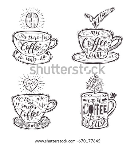 Set Quotes Coffee On Cup Handdrawn Stock Illustration 670177645