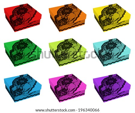 Set of rainbow color gift boxes, decorated with exquisite black lace, isolated on white - stock photo