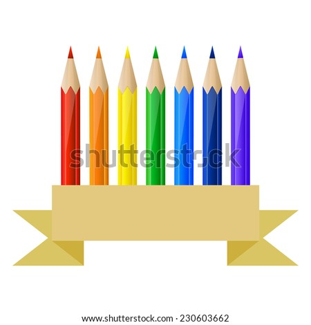 Set of rainbow pencils and blank banner in paper style - stock photo