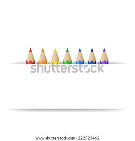 Set of rainbow pencils and white blank paper banner - stock photo
