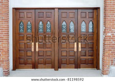 set of raised panel double doors - stock photo