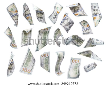 Set of Randomly Falling or Floating $100 Bills Each Isolated on White with No Overlap - Build Your Own. - stock photo