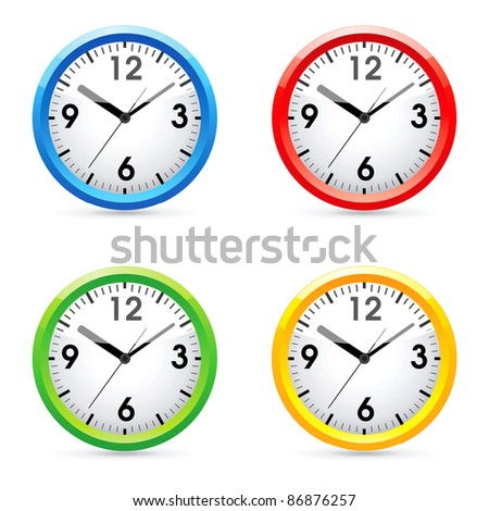 Set of raster color wall clock.