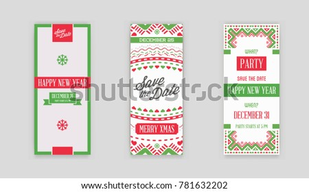 Set of Raster Happy New Year or Merry Christmas theme Save the Date Invitation to the Party