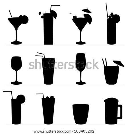 Set of raster illustration of different drinks and cocktails. Black silhouette . - stock photo