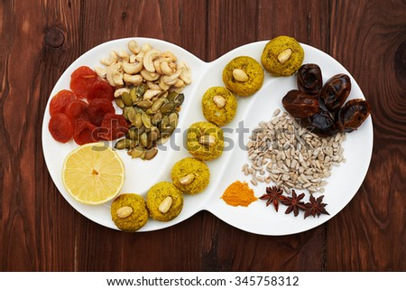 set of raw food diet dessert on white plate over brown wood background