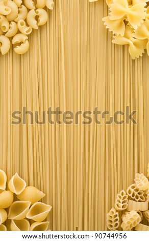 set of raw pasta and spaghetti as background - stock photo