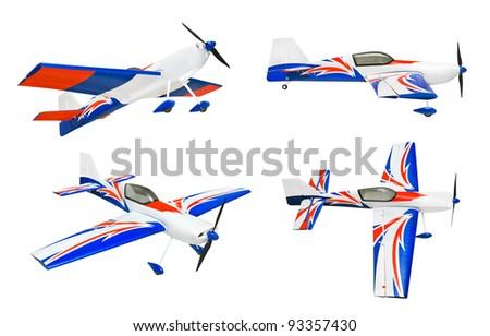 Set of RC plane isolated on white background - stock photo