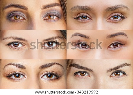 Set of 6 Real Different Brown Open Eyes - stock photo