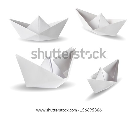 Set of real photos on four paper ships - stock photo