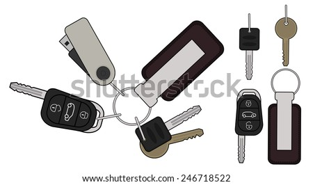 Set of realistic keys icons: remote car starter, usb flash drive, leather trinket, group of house keys. Color illustration isolated on white - stock photo