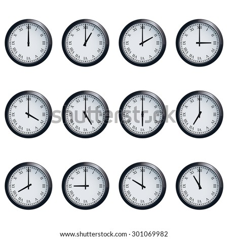 Set of realistic wall clocks with Roman numerals, with the times set at every hour. - stock photo