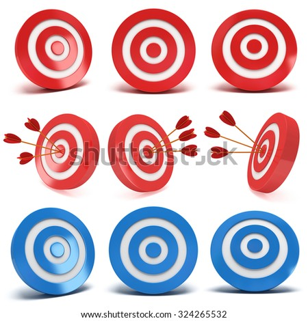 Set of red and blue aim targets with and without three arrows. Goal, luck, strategy, game, business concept. - stock photo