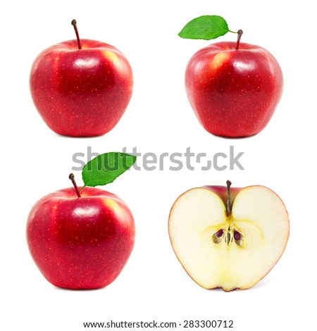Set of red apples on a white background - stock photo