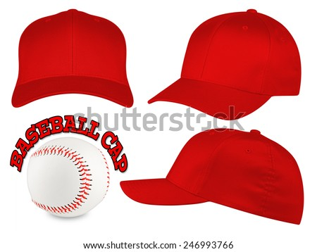 Set of red baseball caps with baseball - stock photo