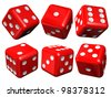 Set of red casino craps or dices, isolated over white - stock vector