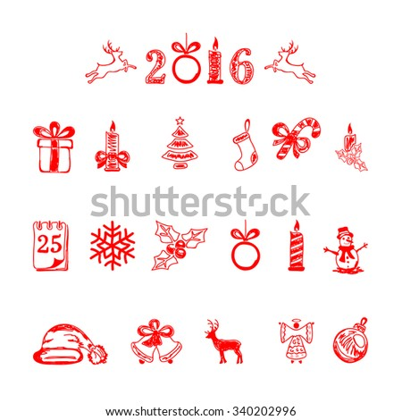 Set of red Christmas icons isolated on white background, illustration.
