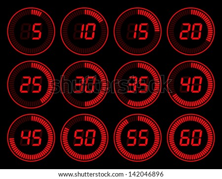set of red digital timer - stock photo