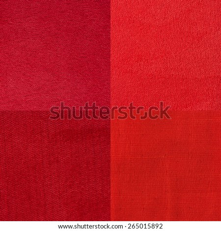 Set of red fabric samples, texture background. - stock photo