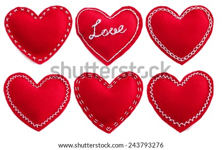 Set of Red fabric Valentine day handmade hearts isolated on white background - stock photo