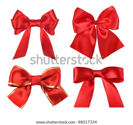 set of red gift satin ribbon bows on white background - stock photo